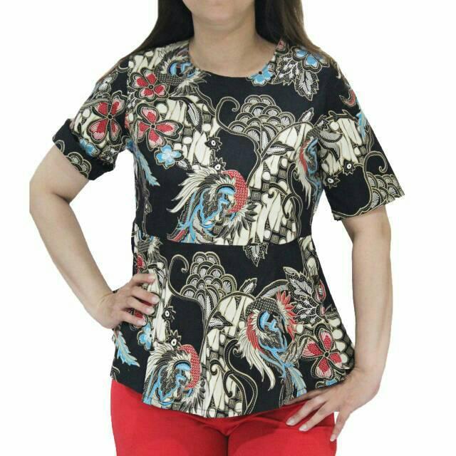 78p Baju Batik Wanita Lengan Pendek Model Peplum Terbaru U Atasan Kerja Kantor Bahan Katun Strecth