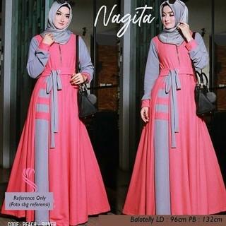 Unik Nagita Dress Peach Gamis Nagita Muslim peach Balotelly Diskon ... c5e9a3412e
