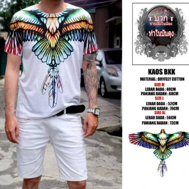 Kaos Bangkok Cowok Putih Motif Sayap Burung Elang Shopee Indonesia