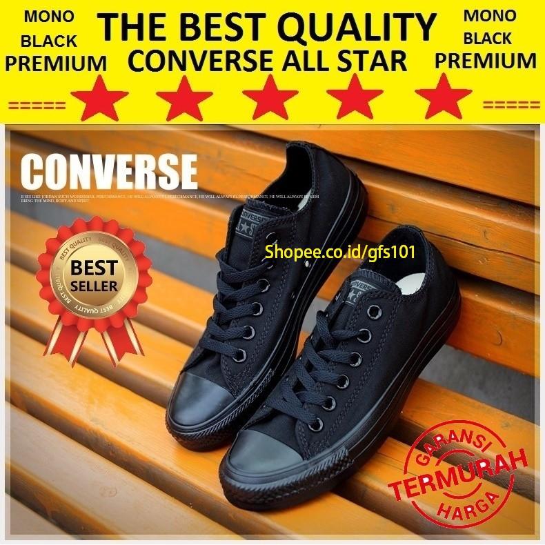 Sepatu Sekolah Converse All Star Full Black Hitam High Tinggi Termurah  36c7547bbb