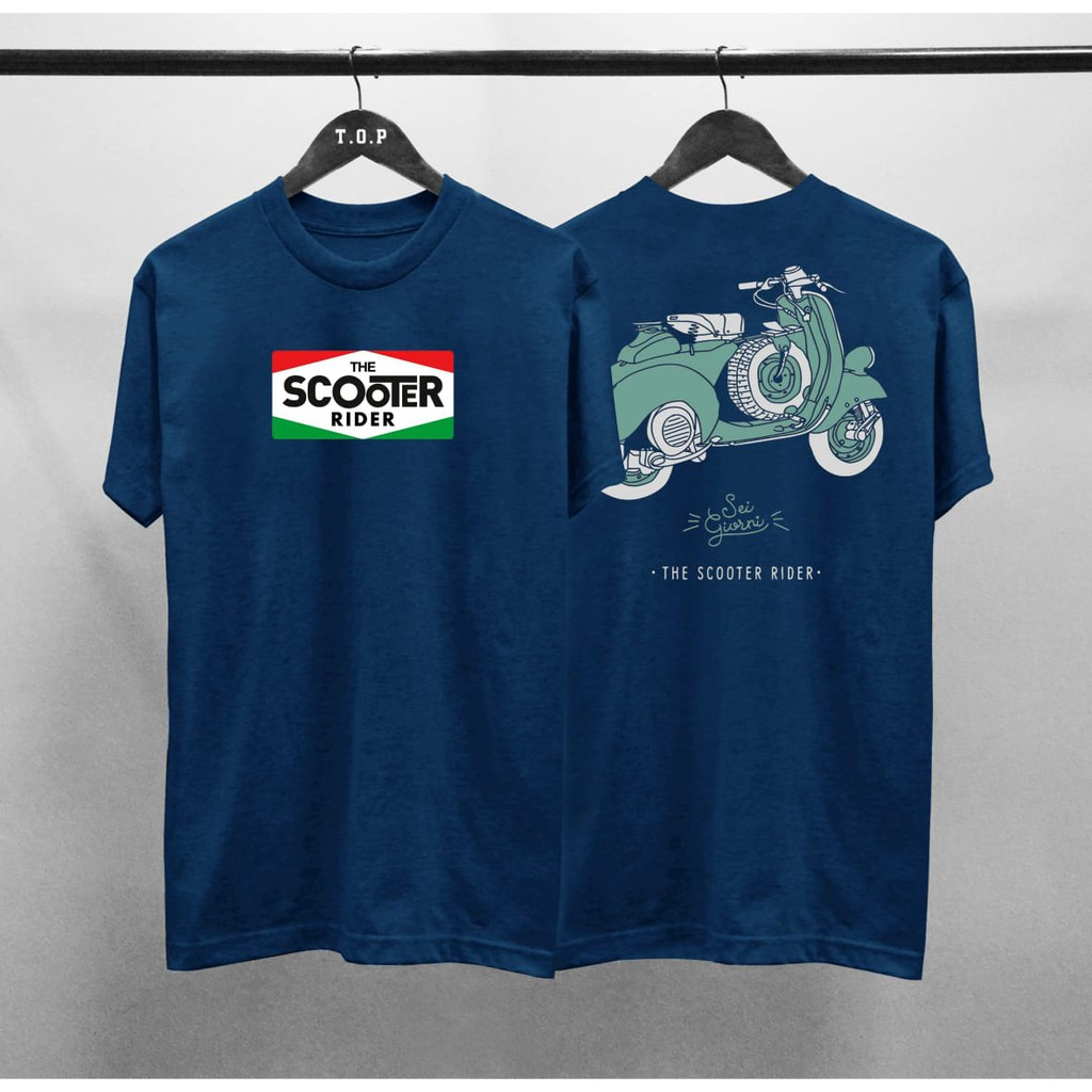 Kaos Distro Vespa The Scooter Italy Depan Belakang Shopee Indonesia