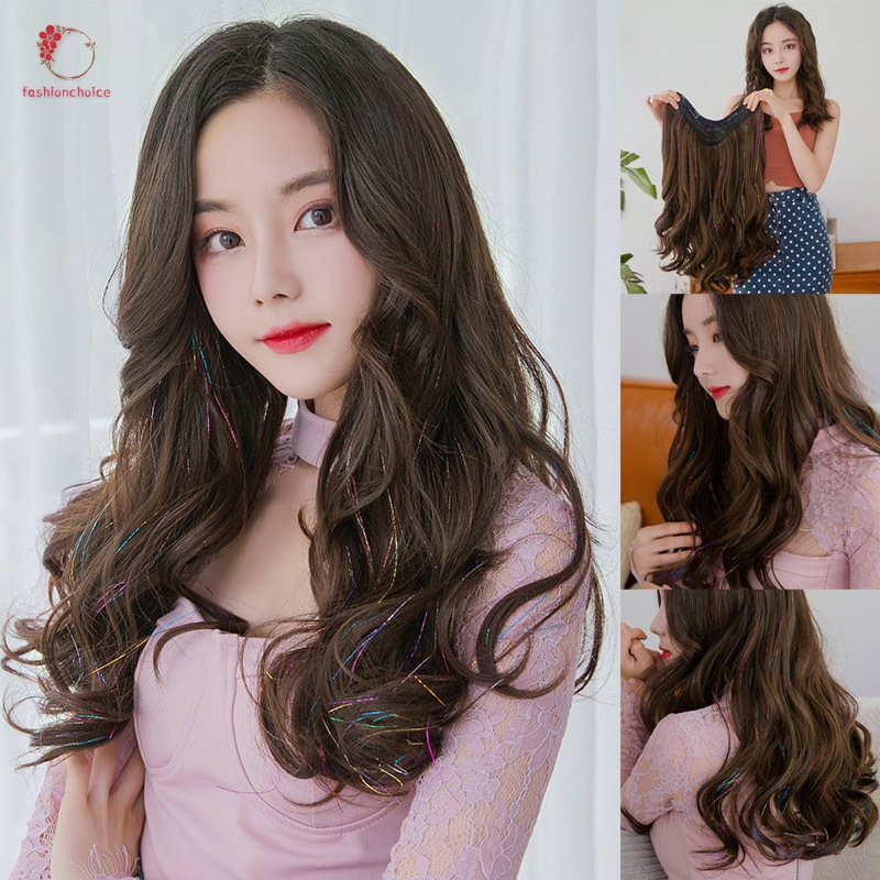 Hair Extensions Long Curly Wigs For Women Heat Resistant Synthetic Hair Wig Party Costume Disguise C Shopee Indonesia
