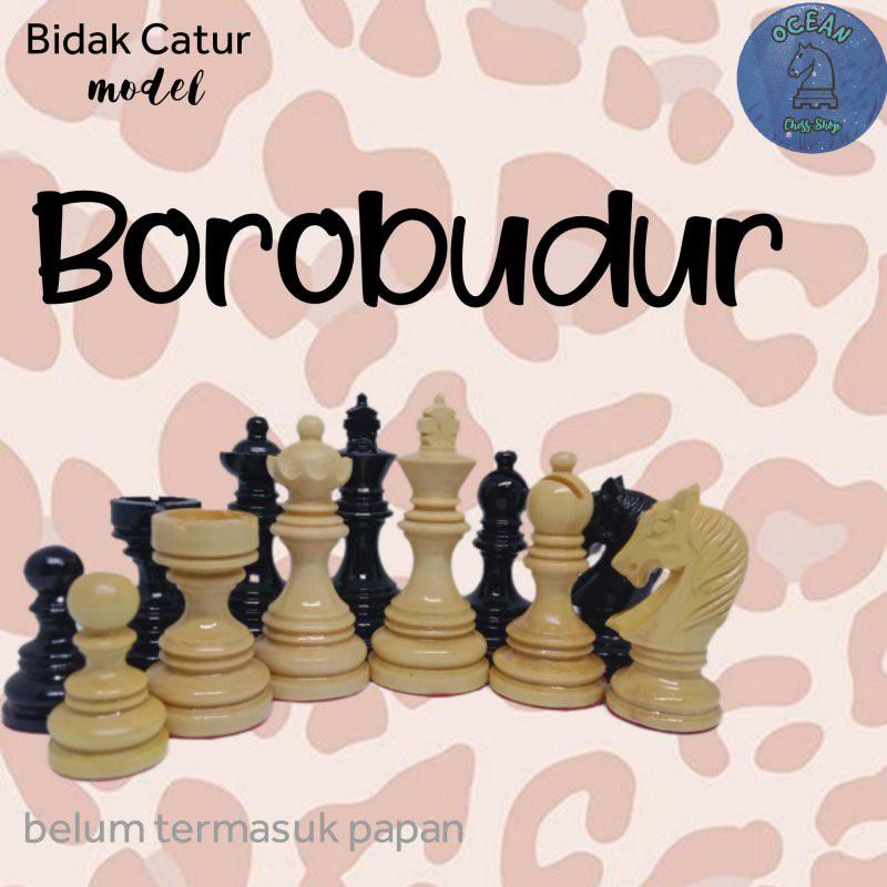 Bidak catur kayu mentaos model Borobudur Premium (Standar Internasional)
