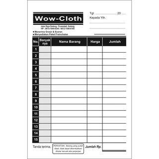 Cetak Nota Toko Kaos Baju Pakaian Paket Hemat 50000 Rangkap 2