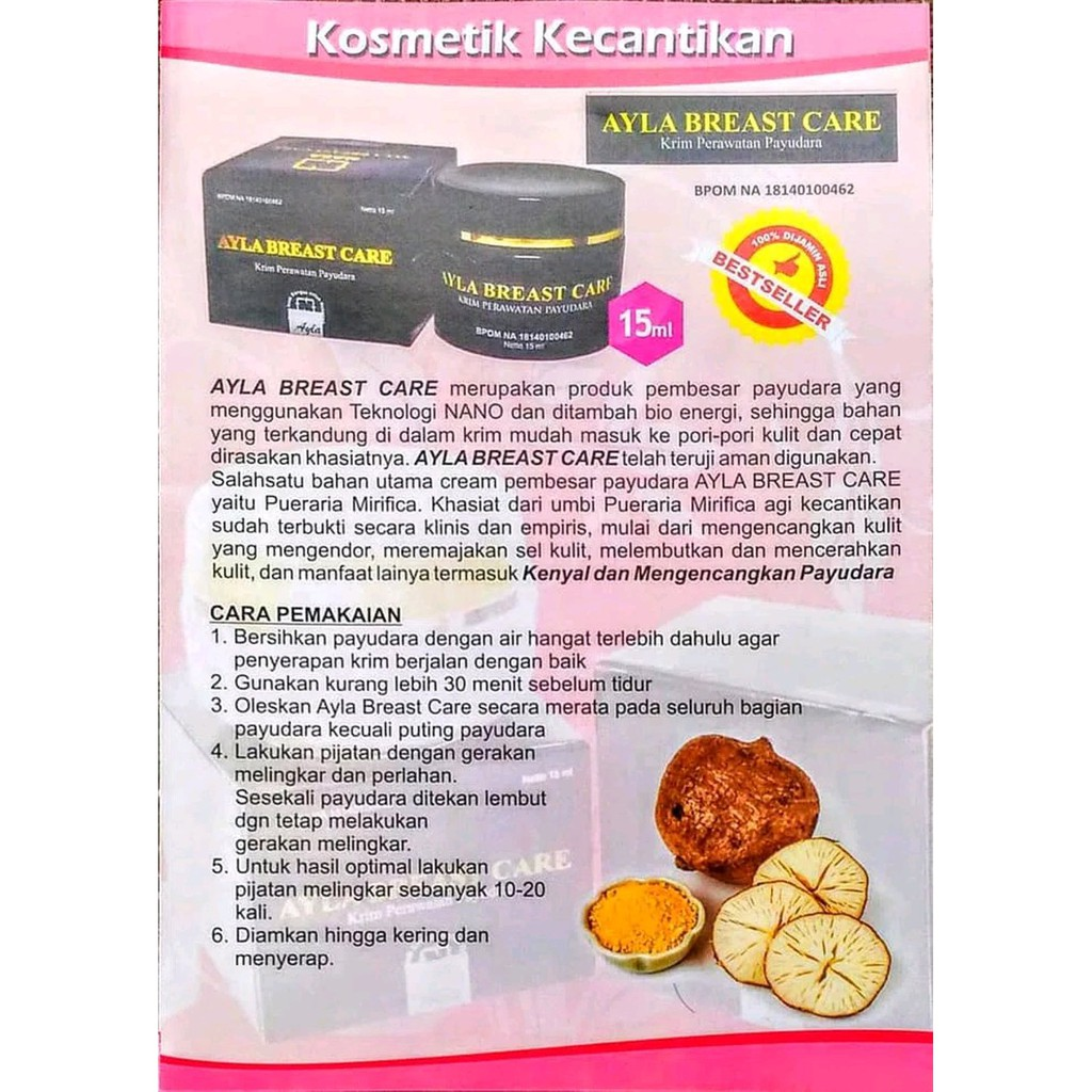 Ayla Breast Care Original Herbal Alami Asli Nasa Cream Pengencang Payudara Pembesar Ampuh Shopee Indonesia