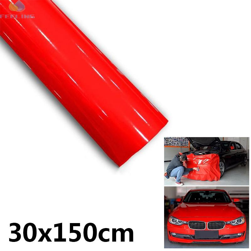 Super Gloss Red Vinyl Film Wrap Sticker Air Bubble Free UV Resistant 30*150CM