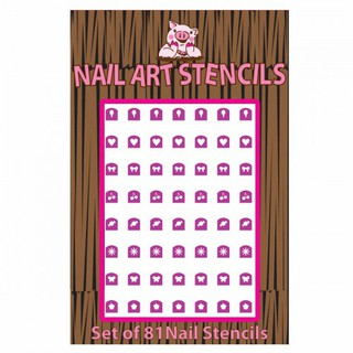 Piggy Paint Combo Pack Nail Stencils Sticker Kuku Purple thumbnail
