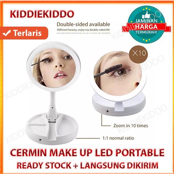 Cermin LED / Cermin Rias / Cermin Make up / Cermin Lipat / Cermin Foldaway Mirror / Portable Mirror | Shopee Indonesia