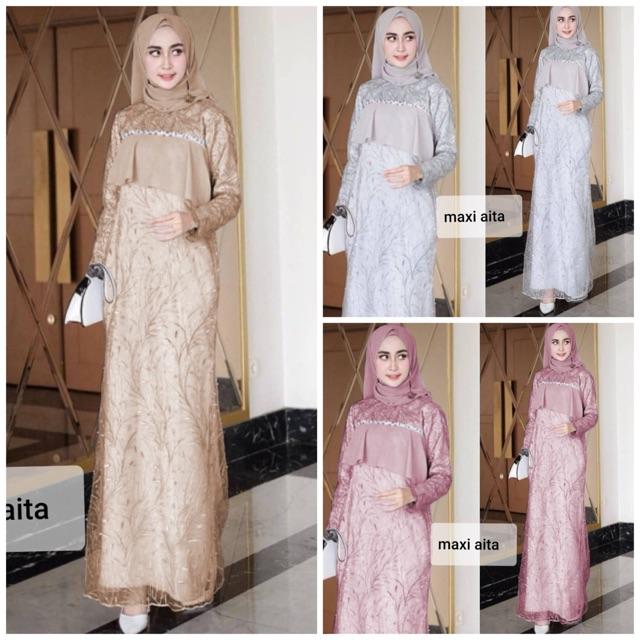 Maxi Aita Dress Gamis Tile Mutiara Full Kombi Layer Crepe Gamis Pesta Gamis Mewah 3 Warna Shopee Indonesia