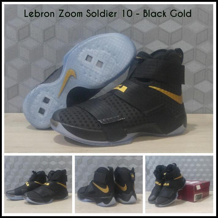 quality design aa0f9 3cc90 SEPATU BASKET NIKE LEBRON ZOOM SOLDIER 10 BLACK GOLD   JORDAN   KYRIE ---  BASKET MURAH   Shopee Indonesia