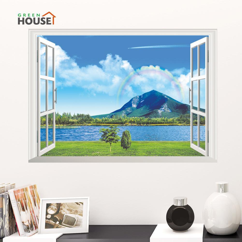 Stiker Dinding Dengan Bahan PVC Mudah Dilepas Dan Gambar Pemandangan Laut 3D
