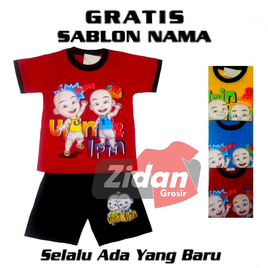 Kaos Anak Kaos Setelan Anak Upin Dan Ipin Gratis Sablon Nama Shopee Indonesia