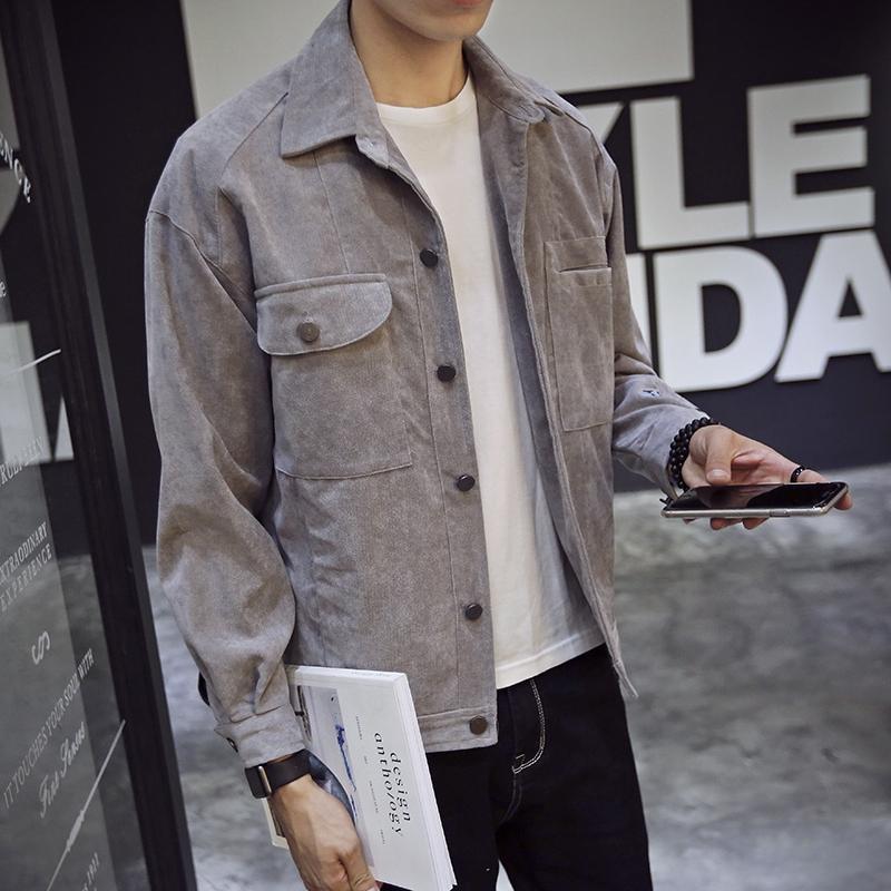 Jaket Lengan Panjang Bahan Corduroy Gaya Korea untuk Pria | Shopee Indonesia