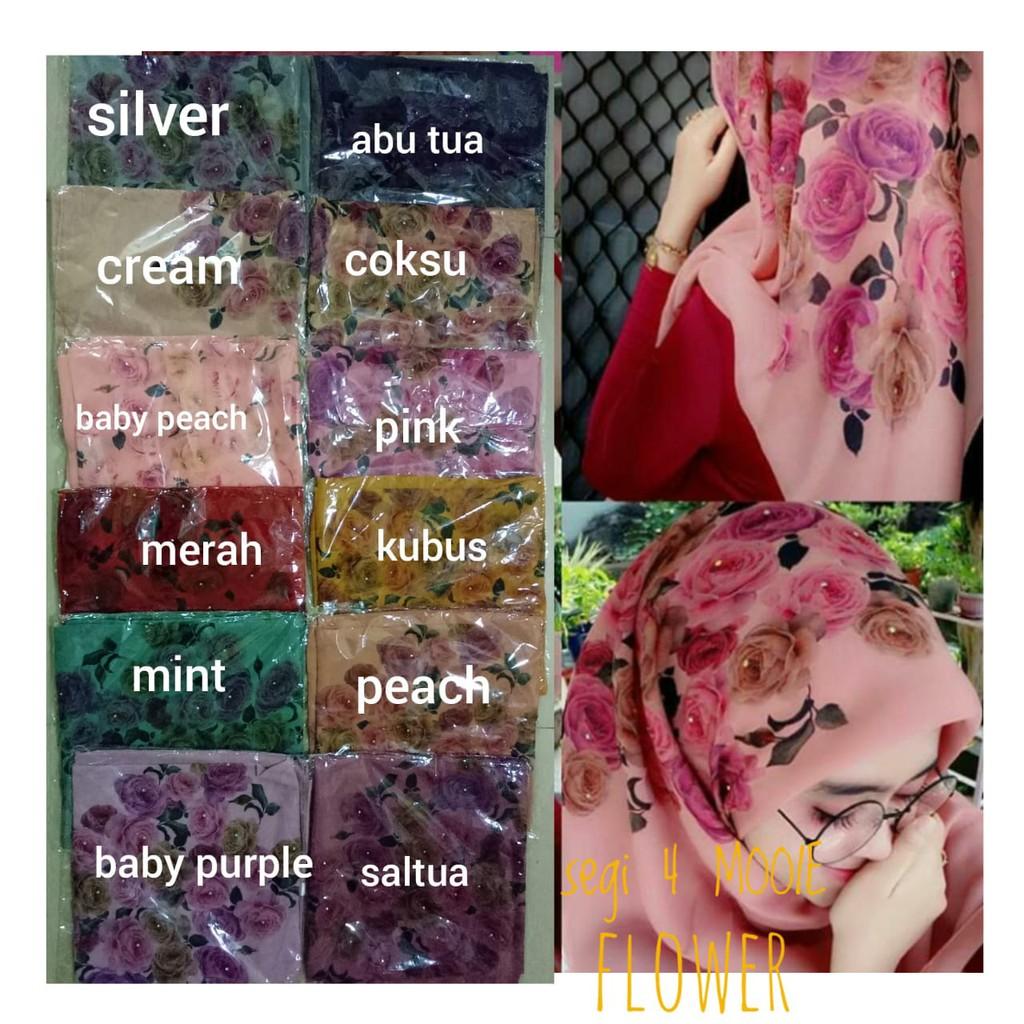 Segi empat mooie flower/ segi empat bella printing/ segi 4 hasanah | Shopee Indonesia