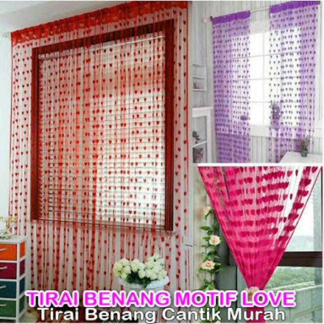 Tirai Benang Motif Love / Dekorasi Cantik Jendela Pintu Ruang Kamar Murah | Shopee Indonesia