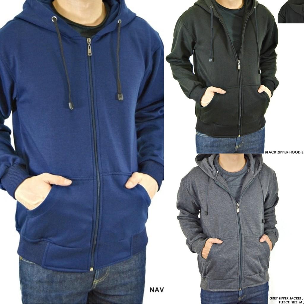 Jaket Hoodie Zipper Polos Shopee Indonesia Keren Biru