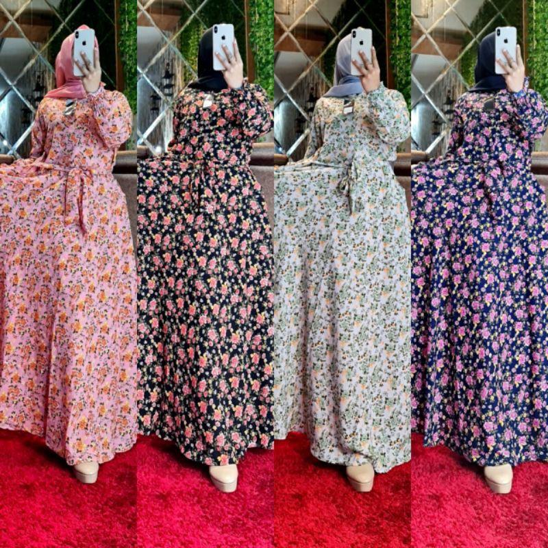 Gamis Monalisa Sirkel Premium Motif Bunga Kecil Shopee Indonesia