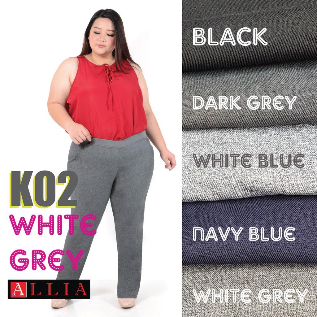 Celana Karet Pinggang K02 White Grey M 6l Kerja Wanita