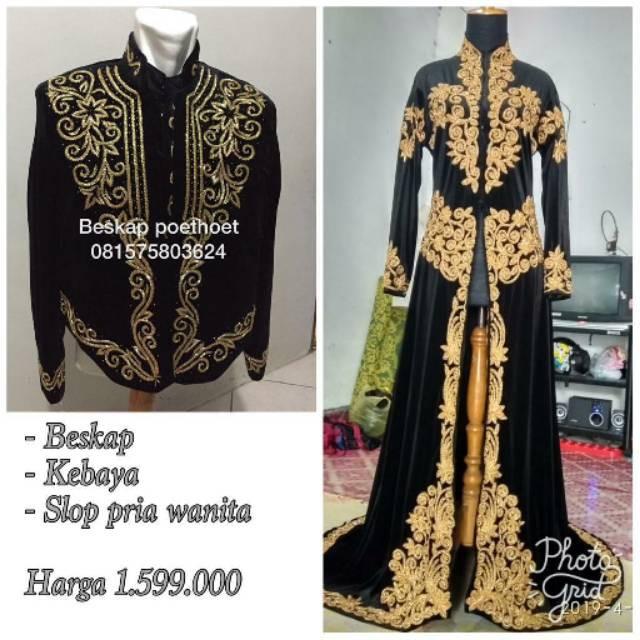 Set Baju Pengantin Adat Jawa Bludru Hitam Emas Muslim Modern Simple Elegan Gratis Selop