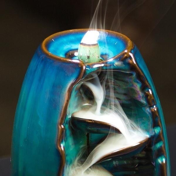 Black Ceramic Waterfall Backflow Incense Burner Incenser Holder Incense Shopee Indonesia