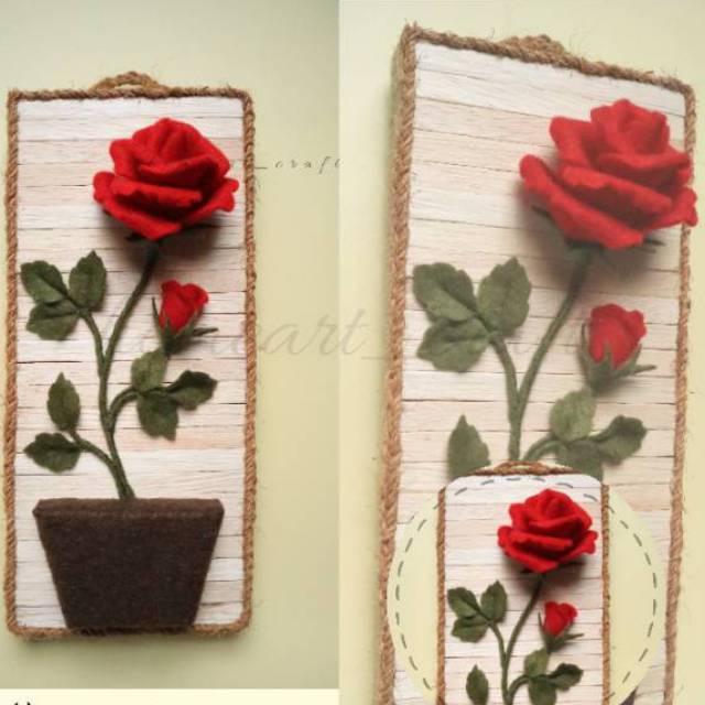 Wall Decor Bunga Mawar Hiasan Dekorasi Bunga Mawar Flanel Hiasan Dinding Bunga Shopee Indonesia