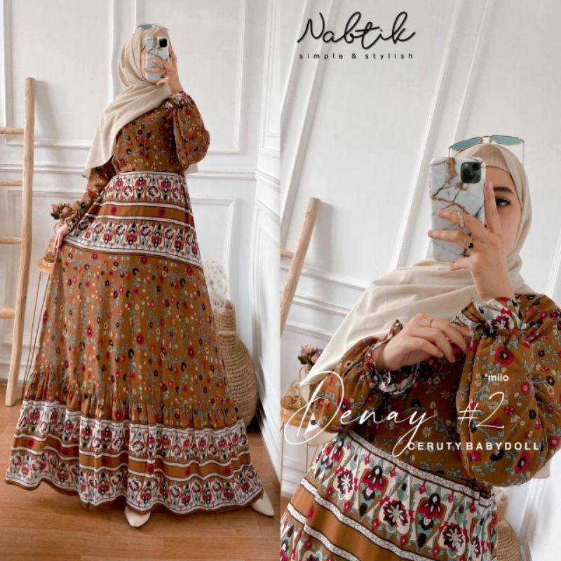 gamis denay #2 terbaru original by nabtik/gamis wanita muslimah motif bunga