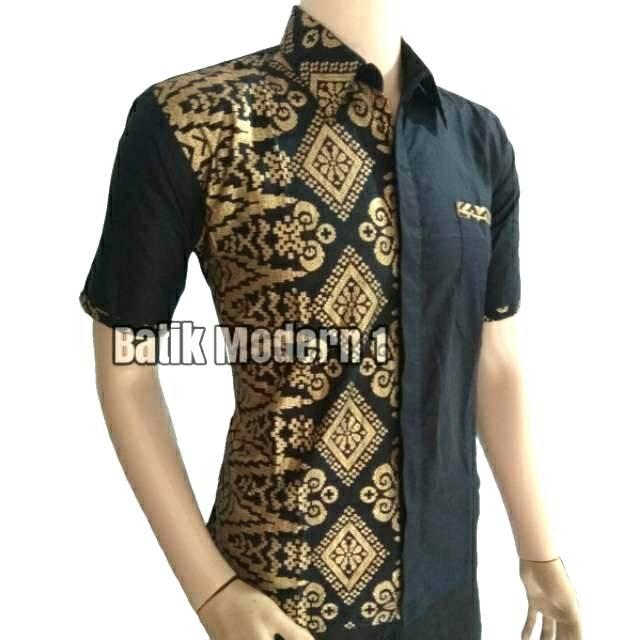 BATIK MODERN ORIGINAL | BATIK PRIA MOTIF MEGAMENDUNG MERAH LENGAN PENDEK | Shopee Indonesia