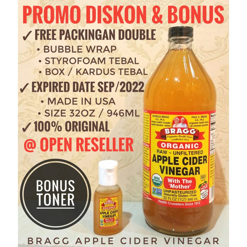 Termurah Size 946ml Bonus Toner 30ml Bragg Apple Cider Vinegar 946 Ml Extra Bubble Wrap Styrofoam Shopee Indonesia