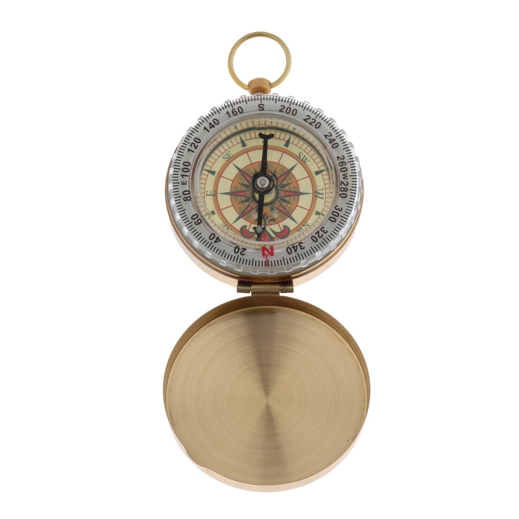Portable Copper Compass for Camping Hiking Outdoor Actions with Night-light