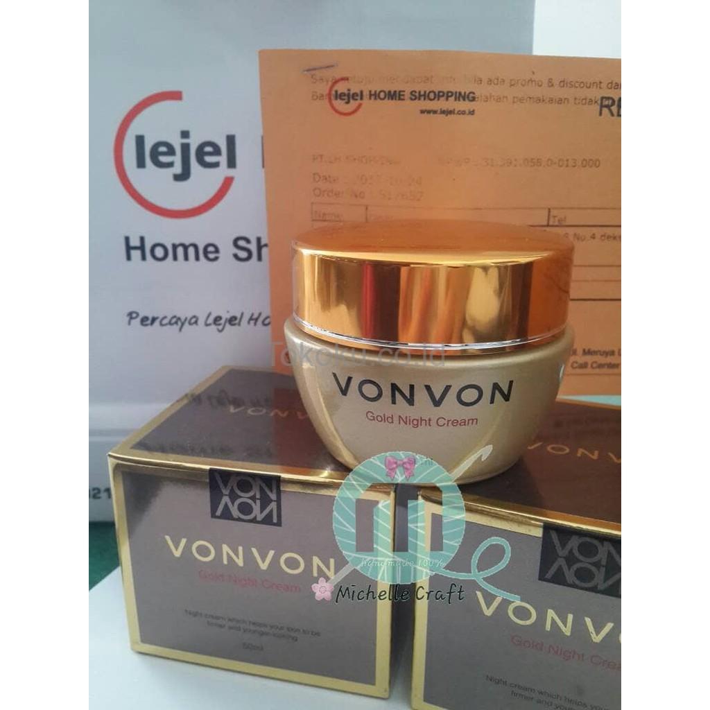 Ready Vonvon 24k Gold Night Cream Asli Original Lejel Home Shopping Deoonard Silver Krim Malam Von Berkualitas Shopee Indonesia