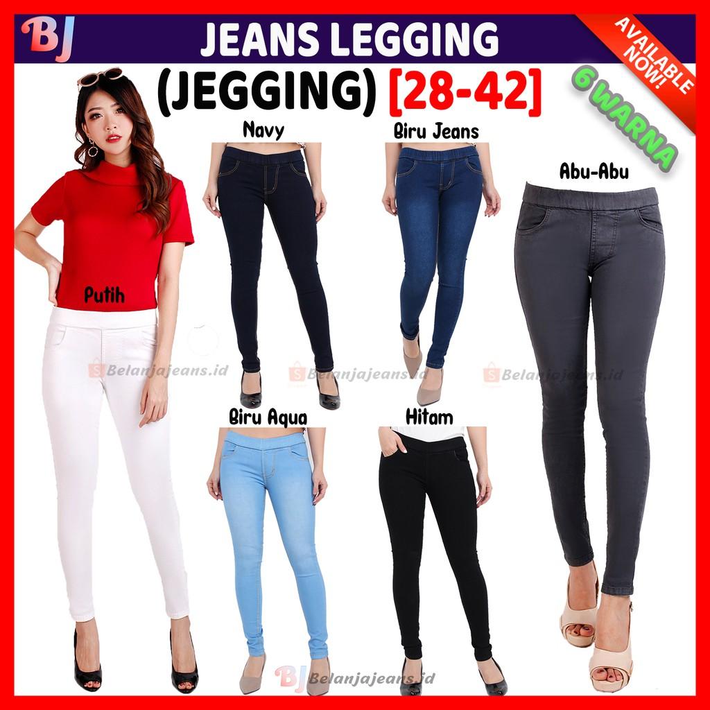 Cod 28 42 Celana Jeans Jegging Pinggang Karet Big Jumbo Legging Soft Wanita Putih Levis Abu Cewek Shopee Indonesia