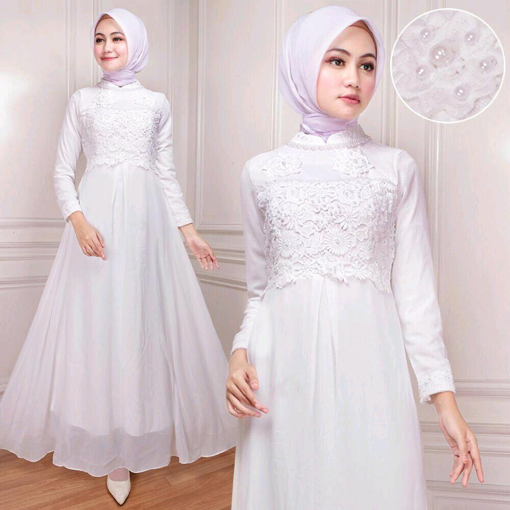 Gamis Putih Dewasa Sifon Renda Payet Gamis Muslim LestarriAbadi