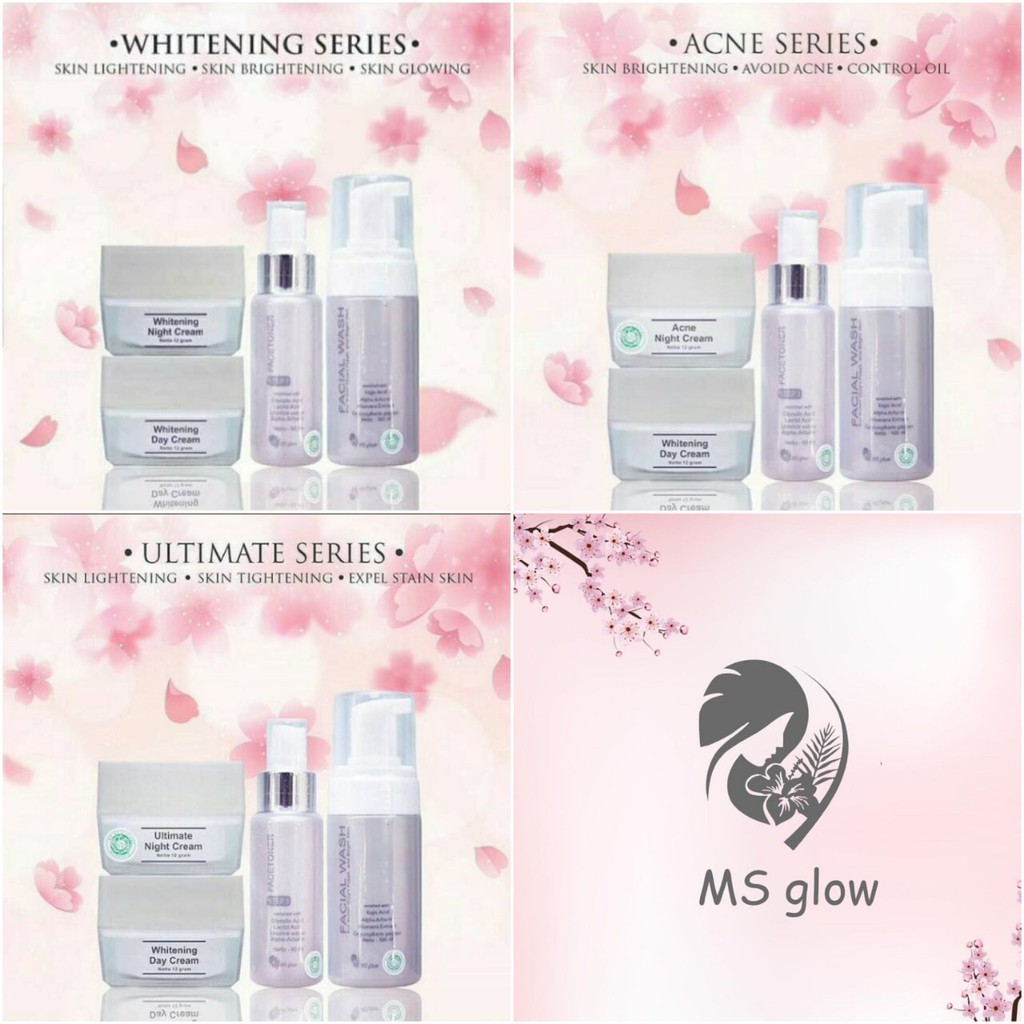 Brightening Whitening Glowing Series Ms Glow By Cantik Skincare Night Cream Krim Malam Paket Shopee Indonesia