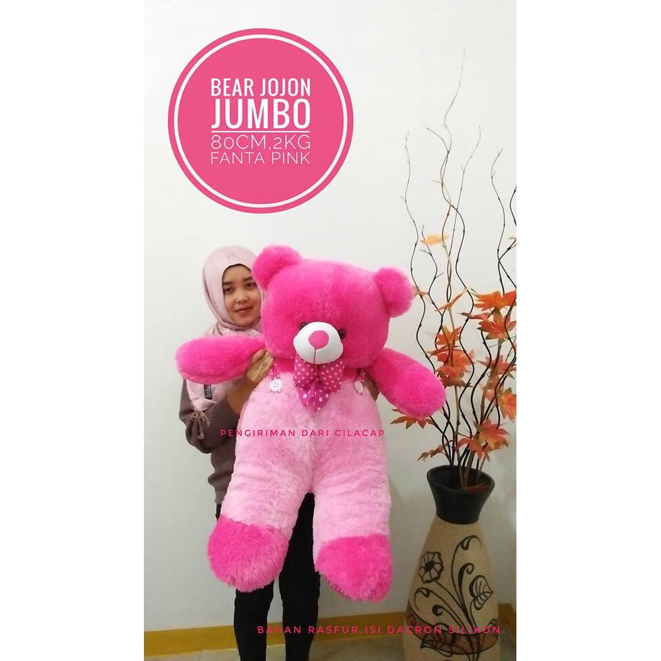 BONEKA BERUANG TEDDY BEAR JOJON JUMBO PINK FANTA BAJU CREAM COKLAT BIRU KUNING HIJAU FREE ONGKIR   Shopee Indonesia