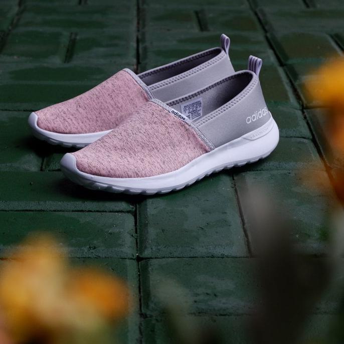 Stock Sepatu Cewek Adidas Original Cloudfoam Neo Lite Racer Slip On Peach Grosir,.
