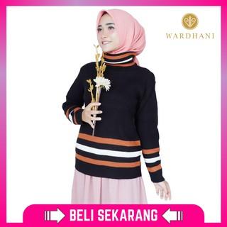 Wardhani - Sweater Rajut Wanita Turtleneck Hanna Bahan Rajut Halus Warna Putih Hitam Coral Fit L