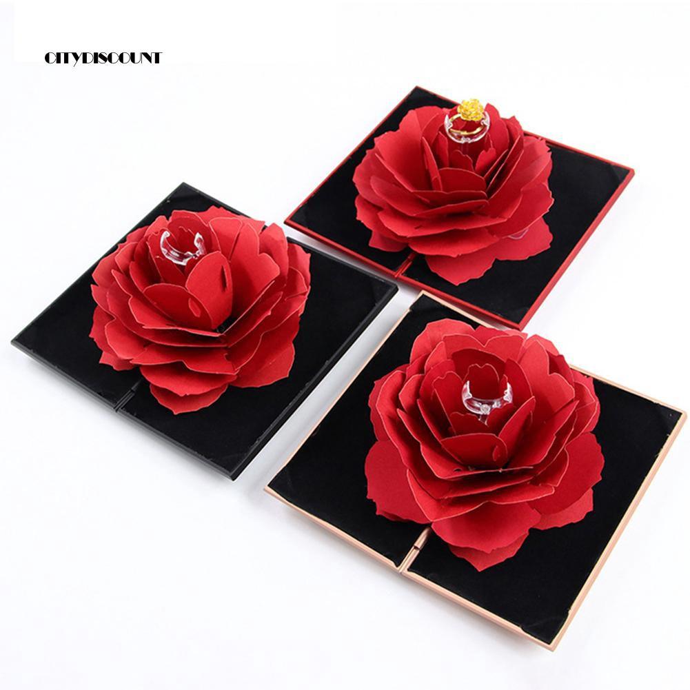 3d Pop Up Rose Flower Ring Box Wedding Engagement Jewelry Storage Holder Case Shopee Indonesia