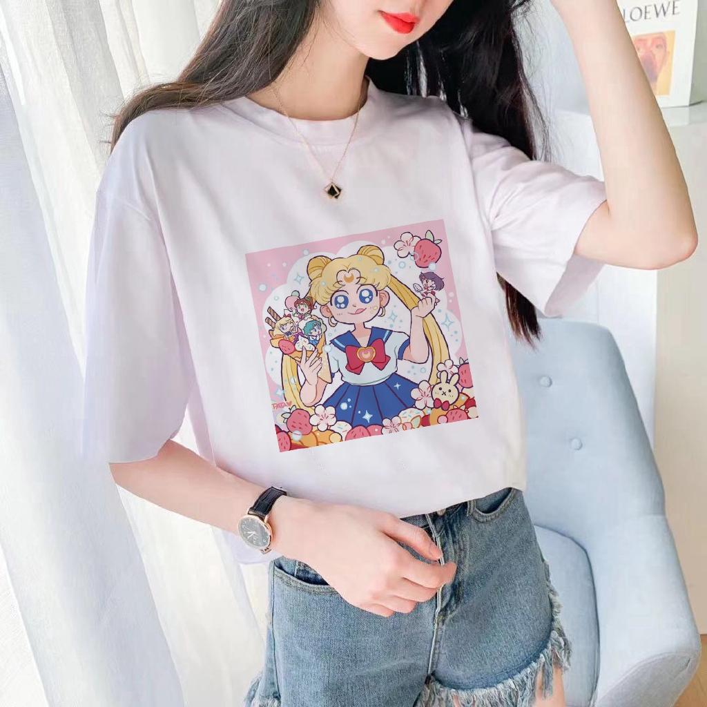 Kaos T Shirt Wanita Lengan Pendek Dengan Gambar Kartun Sailor Moon Dan Ber A Japanese