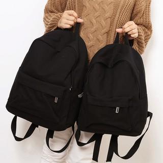 Ukuran tas kanvas warna solid ransel pria wanita versi Korea siswa sekolah menengah ransel sis
