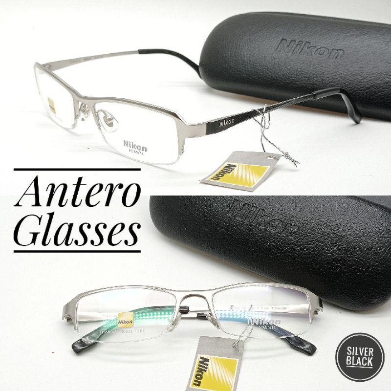 frame kacamata minus pria wanita nikon titanium half frame grade original