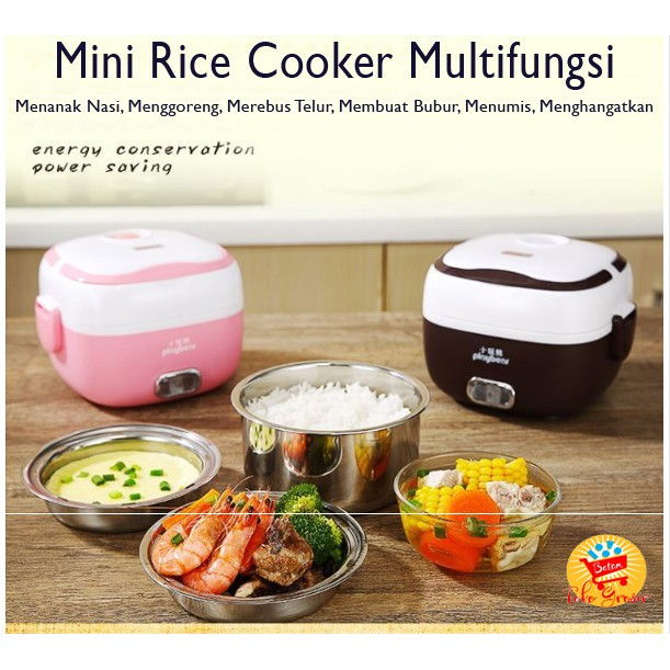Tgb Mini Rice Cooker Multifungsi Penanak Nasi Egg Boiler Lunch Box Shopee Indonesia