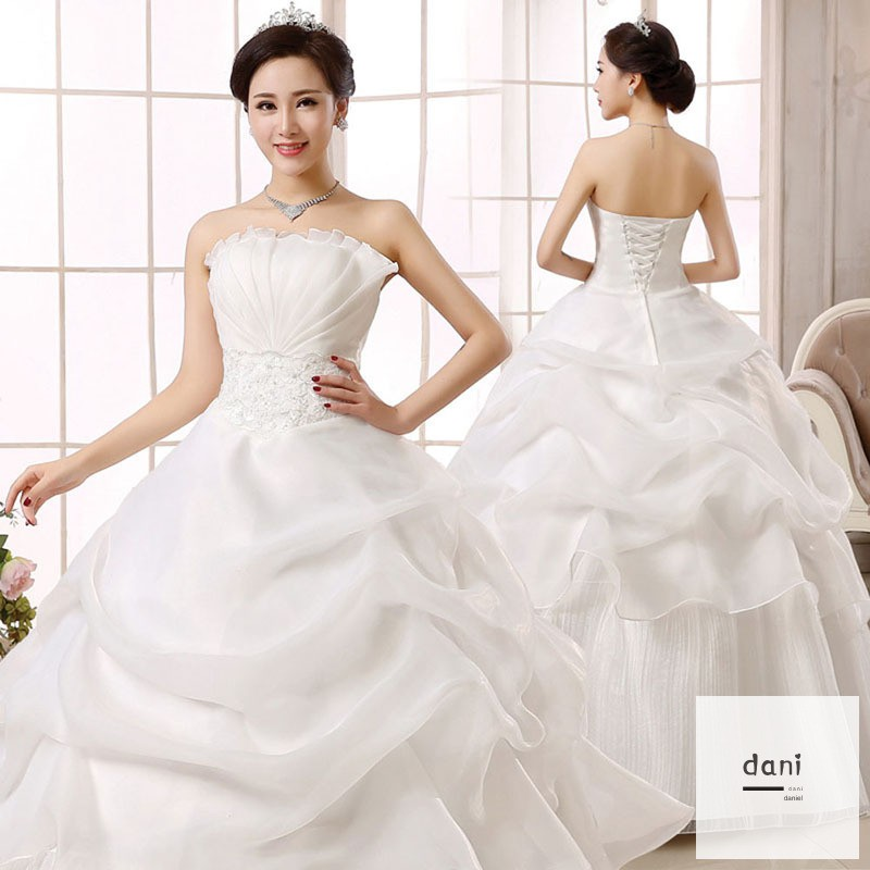 Bridal Ball Gown Wedding Dress Off Shoulder Strapless Lace Up Princess Dresses Shopee Indonesia