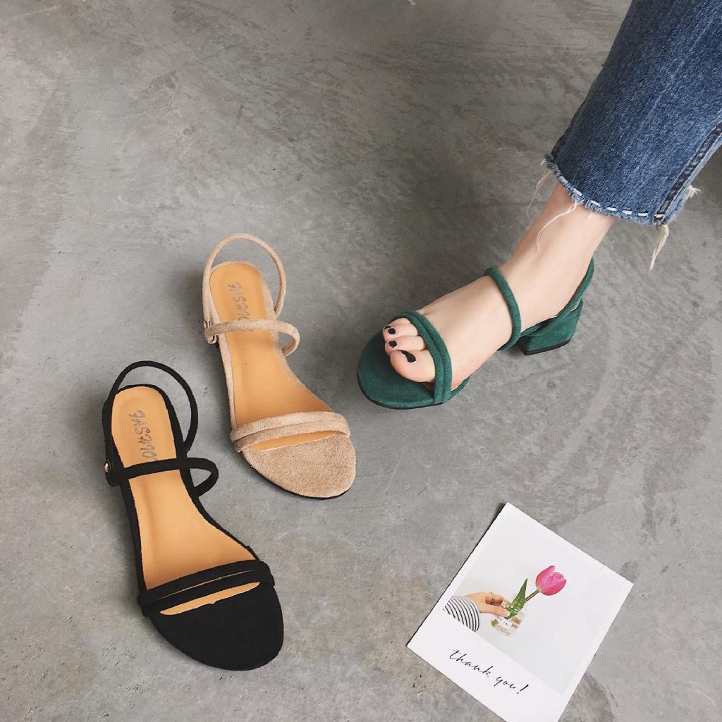 Spot On Mid Heel Strappy Sling Sandal