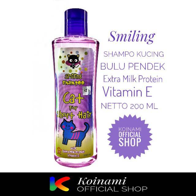 SMILLING FOR SHORT HAIR 200ml UNGU / raid all / shampo kucing bulu pendek / cat / hewan / pet