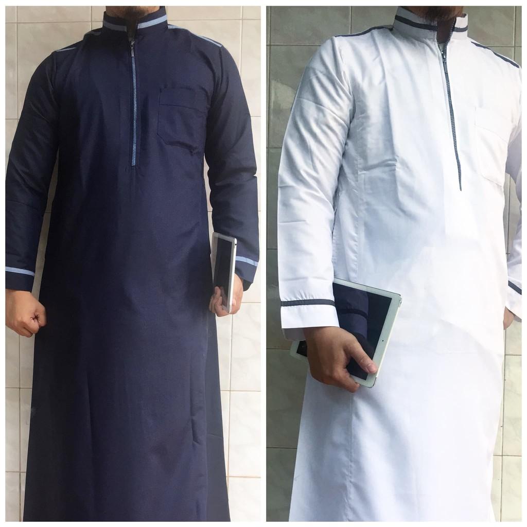 Gamis pria / Jubah Pria katun toyobo khusus warna putih/bw biru