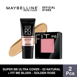 Maybelline Super BB Ultra Cover SPF 50 BB Cream (02 Natural) + Fit Me Blush (Golden Rose) thumbnail