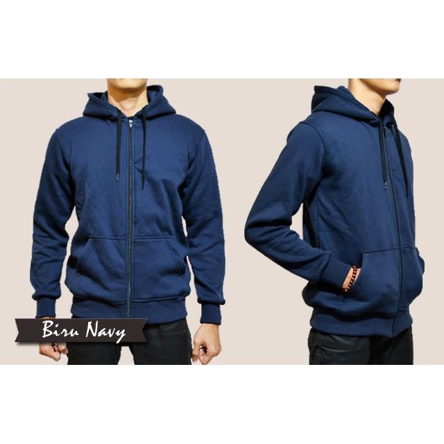 jaket polos navy hoodie zipper bandung  06a6eacc51