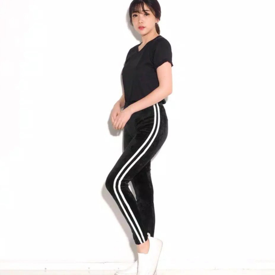 Rx Fashion Legging Velvet List Bludru Fashion Celana Legging Wanita 1r Shopee Indonesia