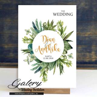 Undangan Pernikahan Daun Vintage Rustic Hijau Retro Simple Cantik Unik Murah Mewah