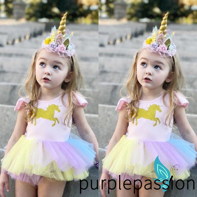 Kids Girls Unicorn Stripe Princess Dress Party Clothes Oufits
